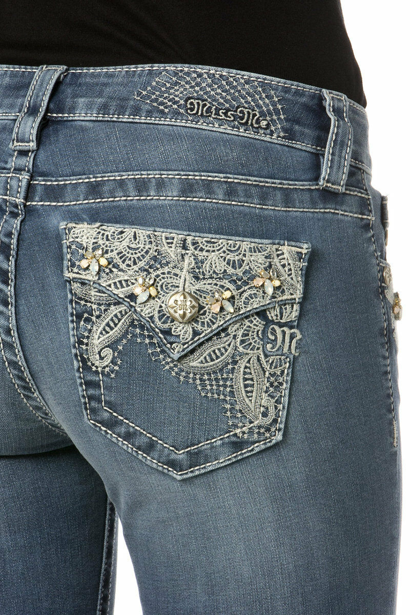 Miss Me Pretty Paisley Mid-Rise Slim Boot Cut jeans - size 31- NWT