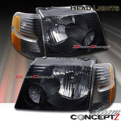 Black Style Headlights + Corners for 02-05 Ford Explorer 4 Door SUV 4 Pcs Combo