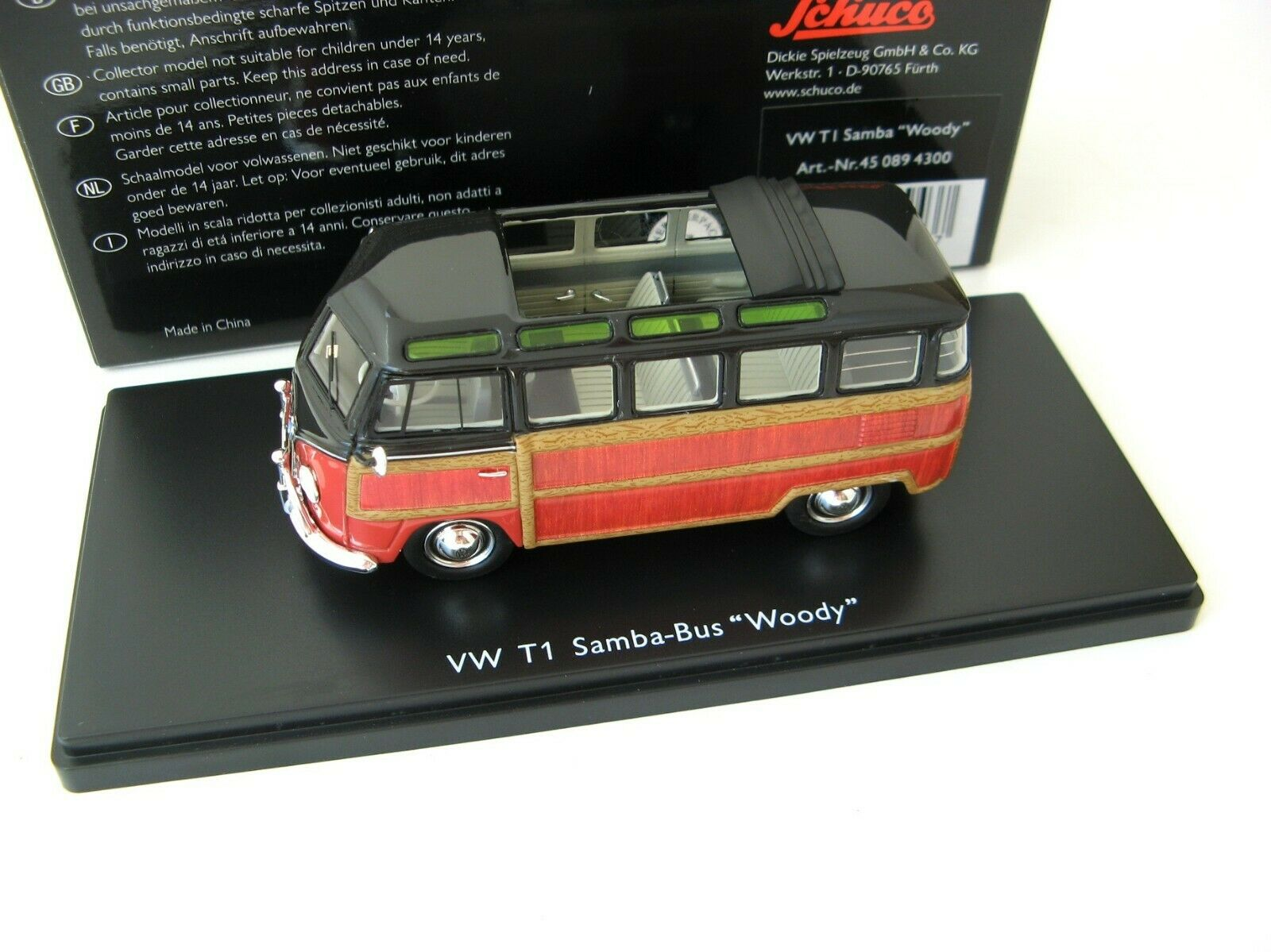 VW T1 Samba Bus Woody 1959 black   brown 1 43 SCHUCO