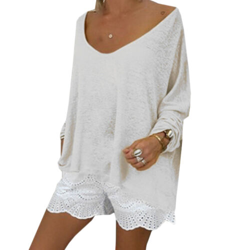 Womens Long Sleeve Blouse Ladies Casual Loose Baggy Tunic Tops Shirt T-shirts