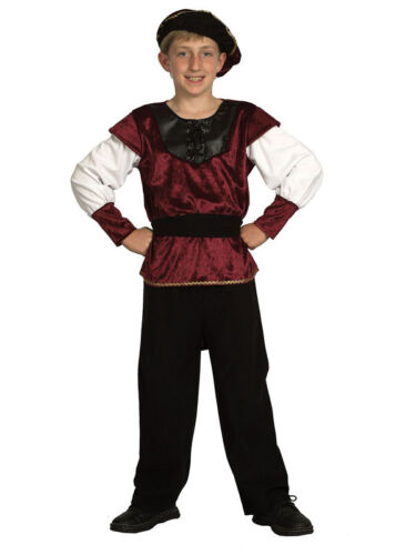 Boys Tudor King Costume Medieval Renaissance Prince Book Week Kids Fancy Dress
