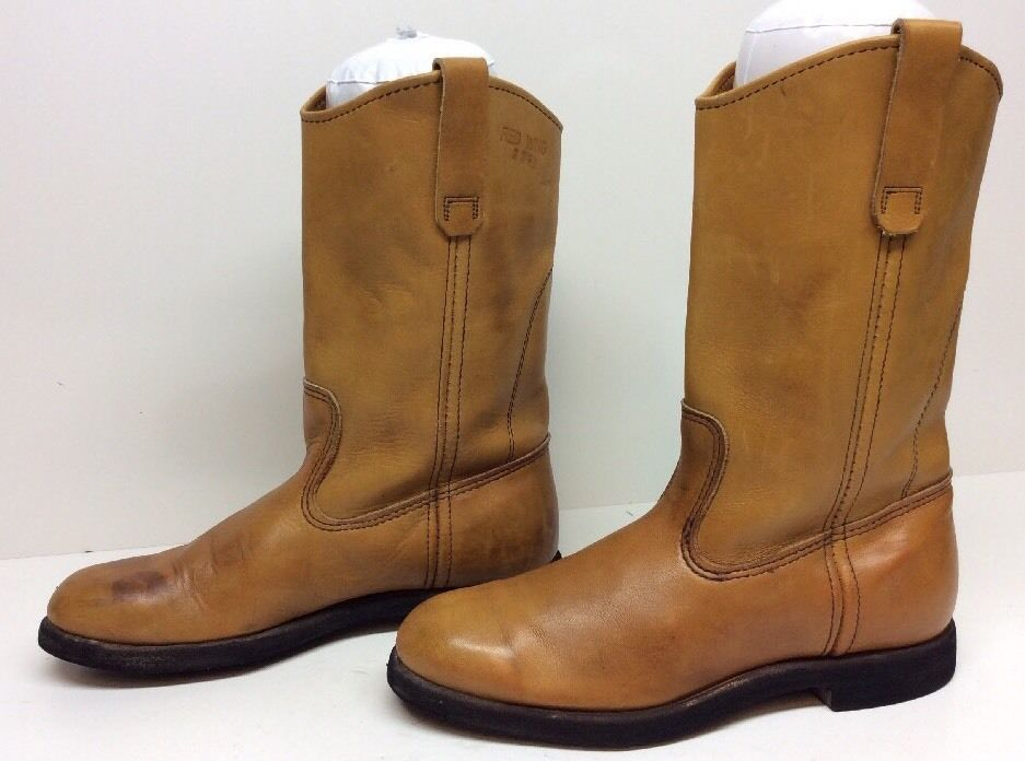 VTG MENS RED WING COWBOY WORK LEATHER LIGHT BROWN BOOTS SIZE ?
