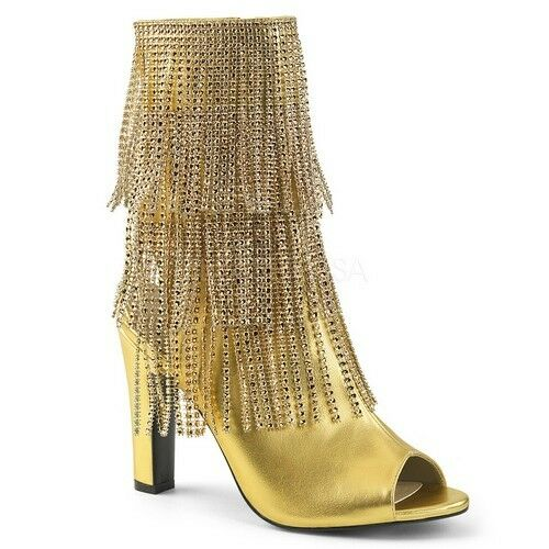 Pleaser QUEEN-100 Ankle/Mid-Calf Boots Gold Faux Leather Open Toe Fringe Heels