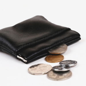Leather Squeeze Coin Purse3 PocketsChange Holder For Men and Women
