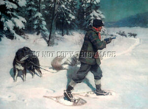 ANTIQUE HUNTING TRAPPING 8X10 PHOTOGRAPH REPRINT > CONFRONTATION WITH WOLVES
