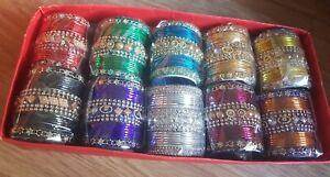 "Indian Pakistani  Bangles  different Colours  Chudiya Chura For 2 yrs size 1.8"""