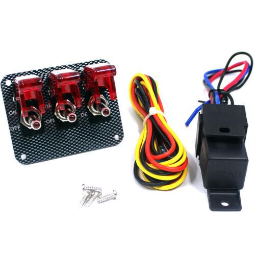 3 Red Ignition Toggle Rocker Switch Panel BOAT LED ILLUMINATED Cover LED Light