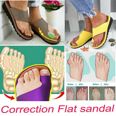 Women Comfy Platform Sandal Shoes Bunion Corrector PU Leather Cosy | eBay