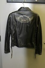COLLECTIBLE HARLEY DAVIDSON BLACK LEATHER WOMEN'S MEDIUM JACKET BRAIDED SIDE