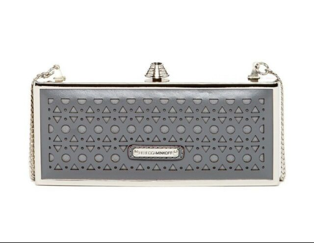 f492bc559 Rebecca Minkoff Clutch Bag Women Rex Minaudiere Charcoal Laser-Cut Leather