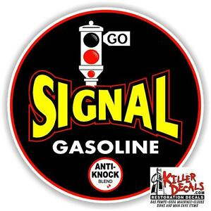 """4/"""" RUSTY LOOKING SIGNAL decal lubster gas pump gasoline oil man cave"""