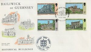 1976 BAILIWICK GUERNSEY HISTORICAL BUILDINGS FIRST DAY COVER - ITALIA POSTMARK
