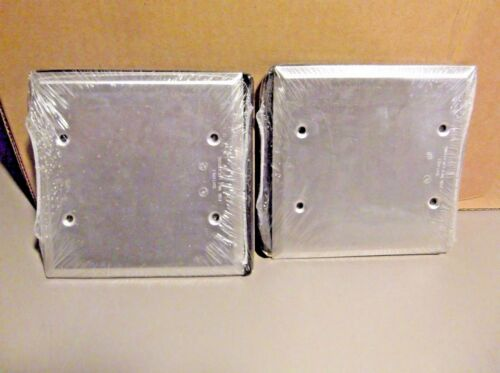 LOT OF 2 OUTDOOR USE 2 Gang Blank Cover Silver 2CCB Red Dot
