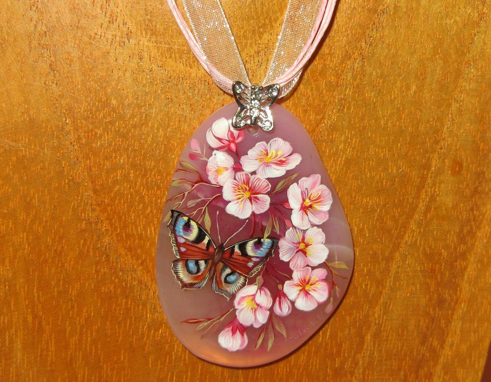 Pendant Stone Russian Hand Painted Monarch butterfly & Pink flowers UNIQUE GIFT