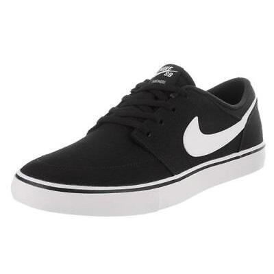 Men's NIKE SB PORTMORE SOLARSOFT Black/White Skateboard Sneakers Shoes NEW