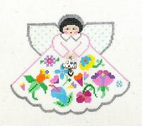 1 Mom Floral Angel With Charms Hp Needlepoint Canvas Ornament By Painted Pony