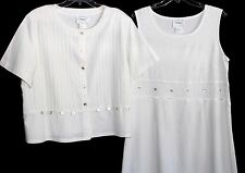 Country Wear Casuals Creamy White Linen Blend Empire Maxi Dress SET L ~ EXC!