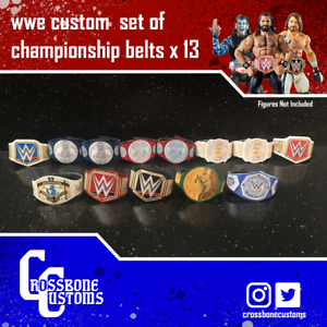 13-x-Custom-WWE-WWF-Championship-Belts-for-Mattel-Jakks-Hasbro-Figures