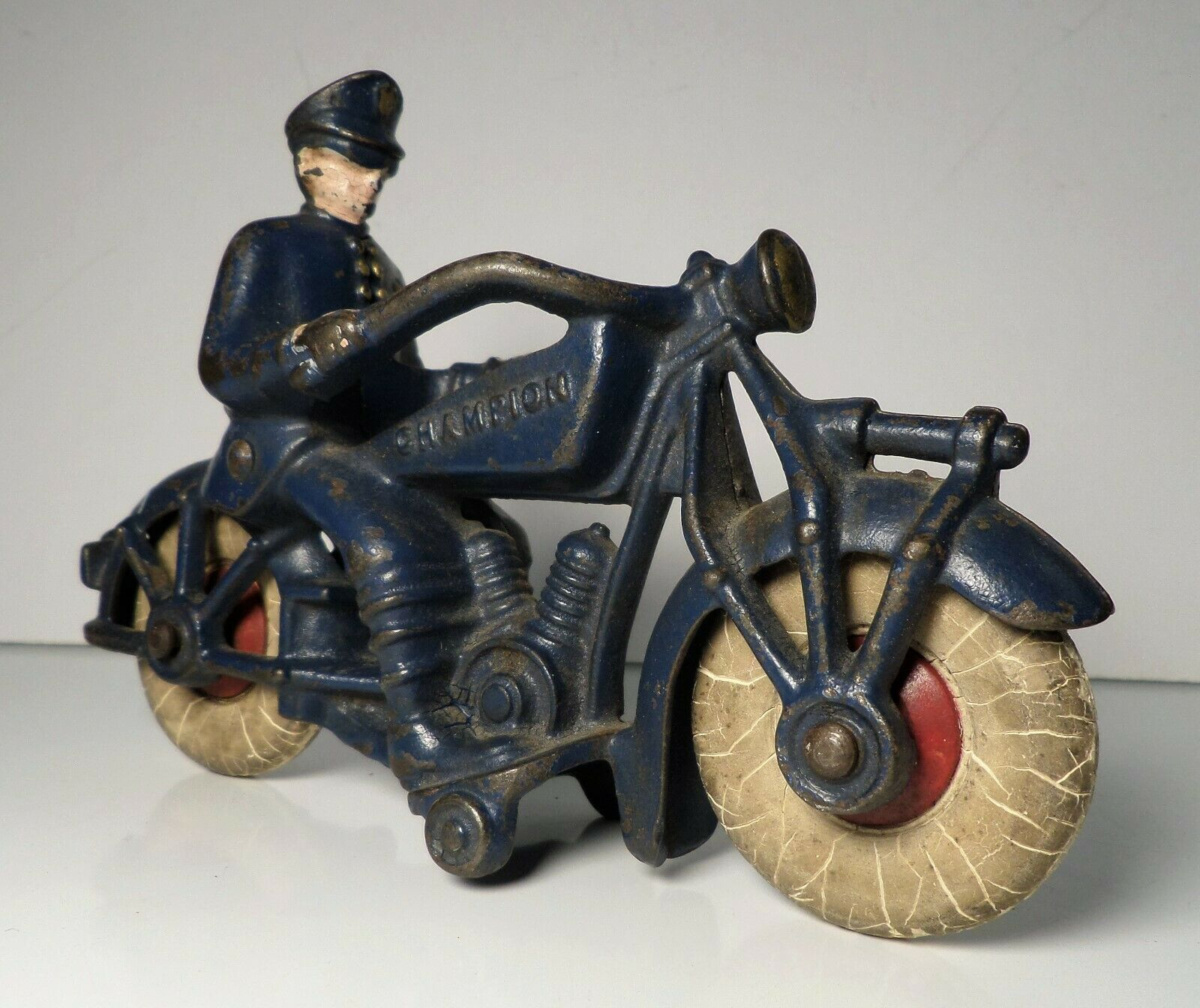 Vintage 1930's Cast Iron Antique Champion Police Cop Motorcycle 7