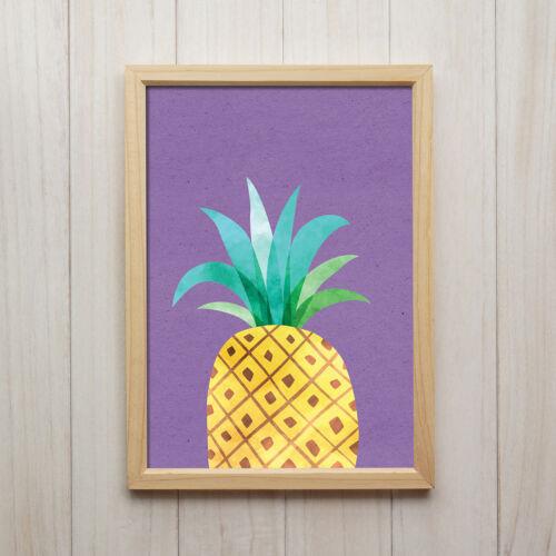 Bild Ananas Modern Kunstdruck A4 Küche Früchte Deko Wasserfarben Poster Geschenk