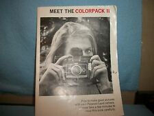 Meet The Colorpack II How To Make Good Pictures W/ Polaroid Land Camera MANUAL