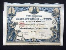 SOCIETE RECONSTRUCTION DE REIMS - ACTION DE 500 FRANCS 1919