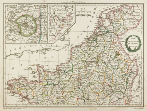 1812, Antique map Empire French, Belgium, Netherlands MaltaBrown Lapie