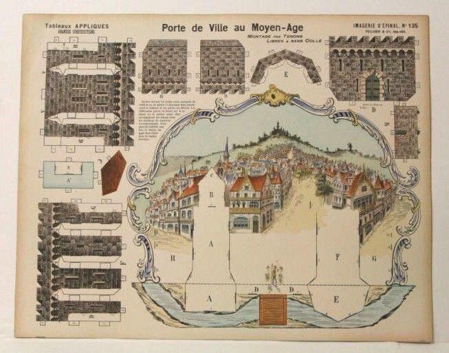 Imagerie d'epinal no 135 Puerto de ville au Moyen Age, grandes construcciones Modelo