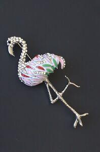 Flamingo-brooch-In-enamel-on-gold-Tone-Metal