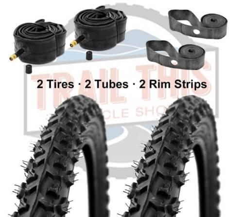 "2-Pack Kenda Alpha Bite 26x1.95/"" MTB Bike Tires Tubes /& Rim Strips Kit K831"