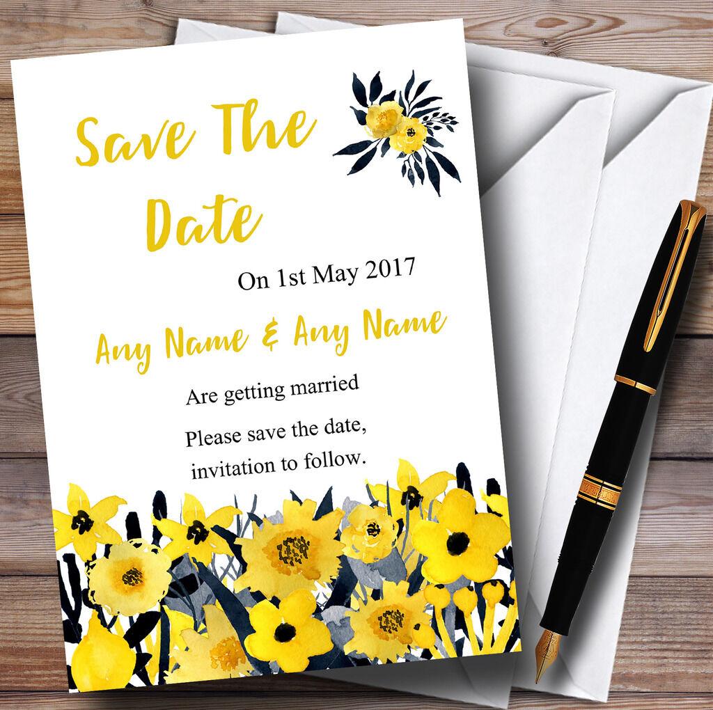 Noir aquarelle & jaune aquarelle Noir fleurs personnalisé mariage save the date cartes dc0ca9