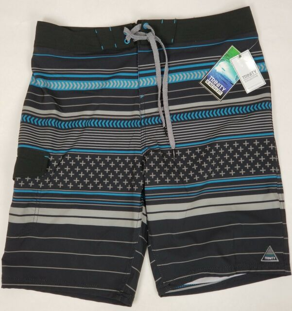 88611a1f81285 Trinity Men's Size 30 Tie Front Board Shorts Black Gray Blue Swim Trunks New