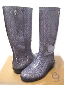 18fd96c02e1 UGG SHAYE CABLE KNIT GERY WOMEN TALL RAIN BOOTS US 6  UK 4.5  EU 37 ...