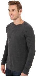 THE-NORTH-FACE-SEWARD-Medium-Charcoal-Gray-Trim-Blend-LS-Henley-Shirt-EUC