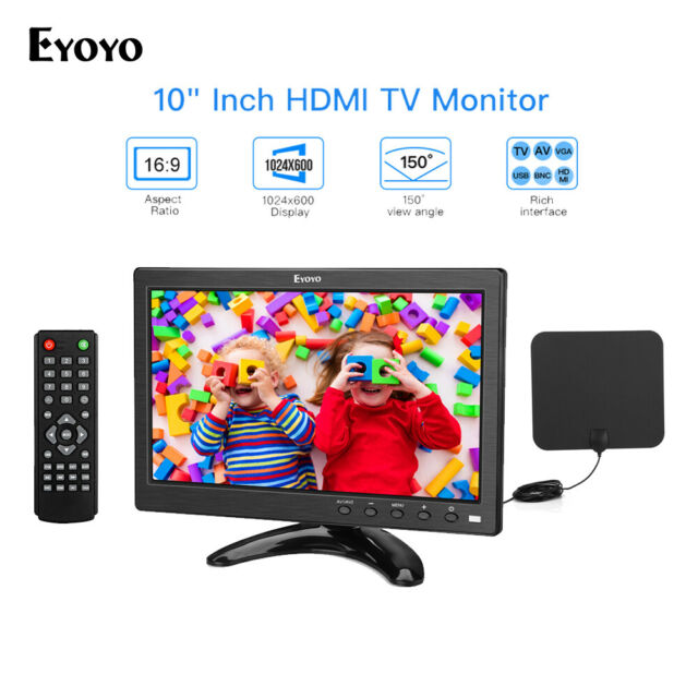 Eyoyo 10 Inch Smart TV Monitor Bulit in Loudspeaker 150°View + 1080P TV Antenna