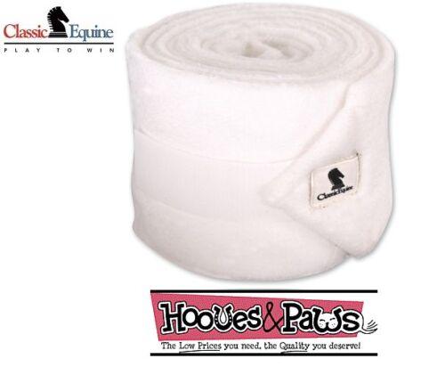 Classic Equine WHITE Polo Leg Wrap Wraps Protection Boots Set of Four Horse Tack
