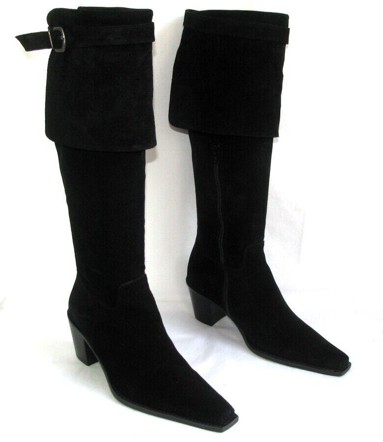 ACCESSOIRE DIFFUSION Bottes talons 6.5 cm cuir daim suède noir 36.5 37 NEUVES