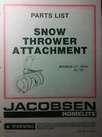 Jacobsen Ltx Riding Lawn Tractor Snow Thrower Parts Manual 8pg Ltx8 Ltx11 Blower