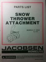 Jacobsen Ltx Riding Lawn Tractor Snow Thrower Parts Manual 8pg Ltx8 Ltx11 Blower
