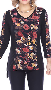 NEW Parsley & Sage Plus Fall Winter Hi-Lo Fleury Floral Blouse Tunic Top 1X
