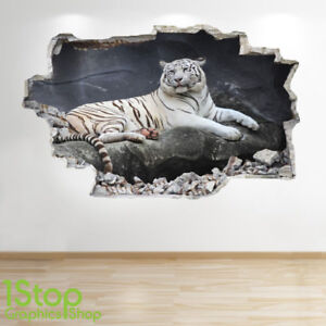 WHITE TIGER WALL STICKER 3D LOOK - BEDROOM LOUNGE NATURE ANIMAL WALL ...