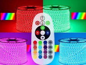 1-50m-IR-RF-kontroller-230V-RGB-LED-Stripe-Set-Streifen-60-LEDs-m-Dimmbar-IP68