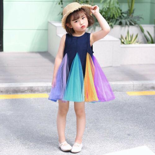 Fashion Toddler Kids Baby Girls Party Rainbow Vest Sleeveless Tutu Dress Outfit