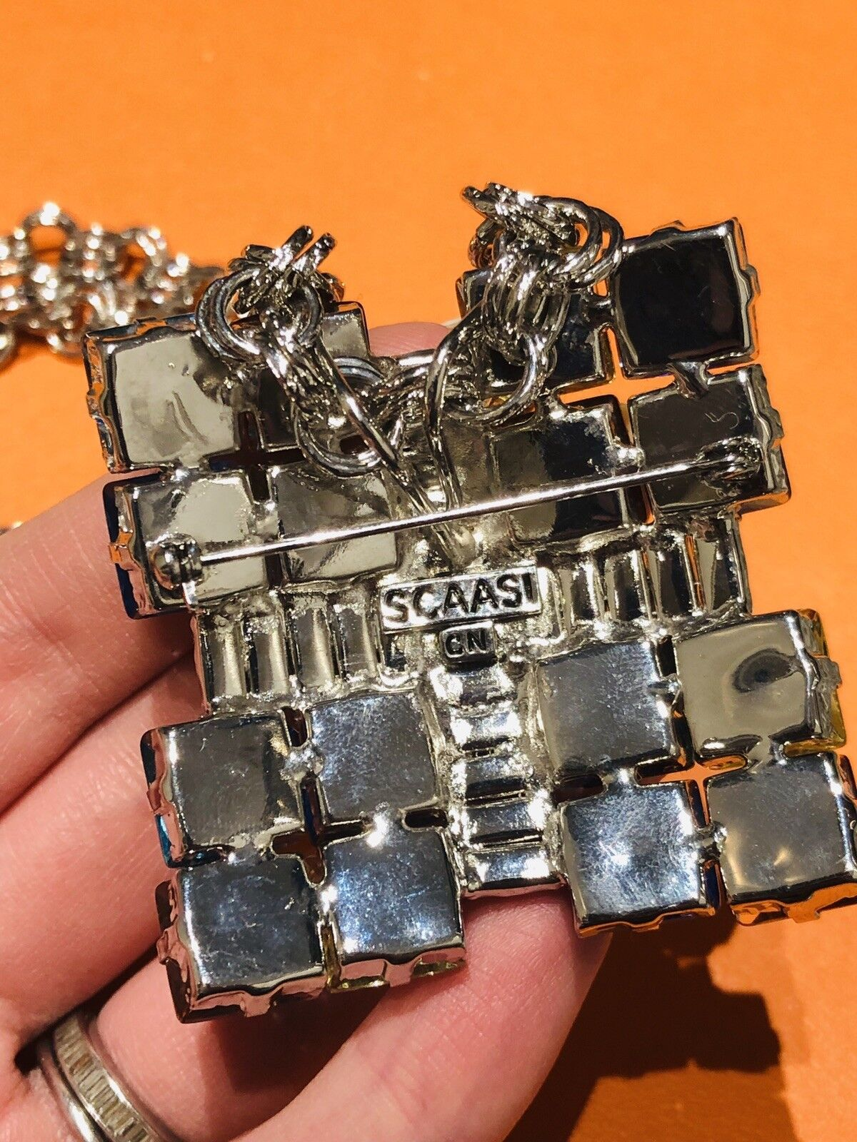 Arnold Scaasi Multi Color Crystal Square Necklace… - image 5