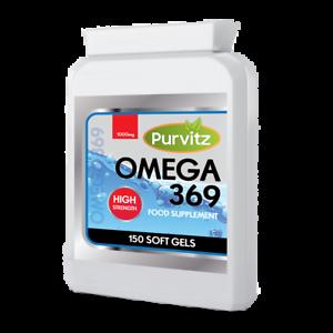 Omega-3-6-9-1000mg-150-capsule-olio-di-pesce-ad-alta-resistenza-DHA-EPA-UK-369-Softgels