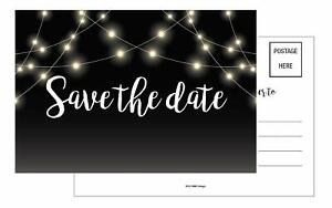 20-Save-The-Date-PostCards-4x6-Black-lights-Rustic-Chalkboard-Guests-at-Wedding