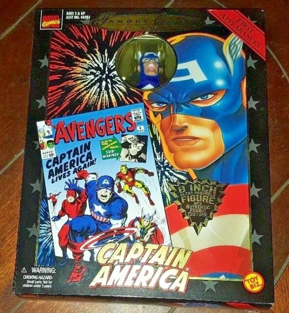 "NIP Famous Cover Series -CAPTAIN AMERICA- 8"" Figure w/Authentic Fabric Costume!"