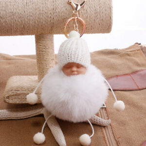 CUTE LITTLE BABY FAUX FUR FLUFFY BALL POM POM KEYCHAIN CAR KEY RING ... a35456a8675c
