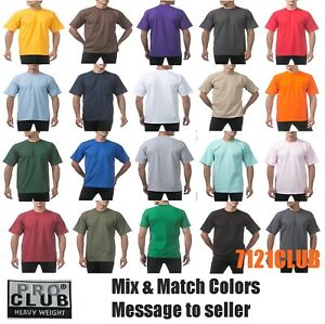 a8ba3f45 LOT 12 PACK PRO CLUB T SHIRTS PROCLUB MEN'S PLAIN HEAVYWEIGHT SHORT ...