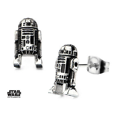 OFFICIAL  STAR WARS - R2-D2 DROID MOULDED GREY PAIR OF STUD EARRINGS (BRAND NEW)